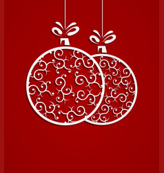christmas white ball with pattern vector image