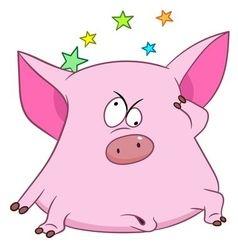Cute cartoon pig with stars vector