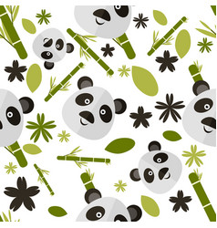 Cute cartoon seamless pattern with panda vector