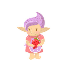 Cute troll girl character holding strawberry vector