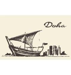 Doha skyline Dhow Qatar hand drawn sketch vector image vector image
