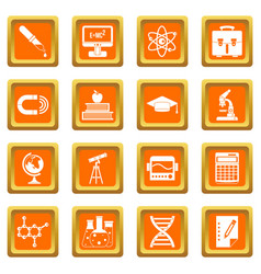 education icons set orange vector image vector image