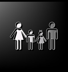 Family sign gray 3d printed icon on black vector