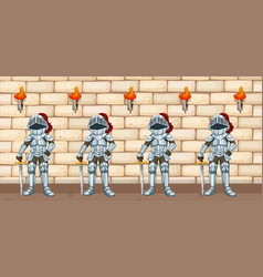 four knights standing by castle wall vector image