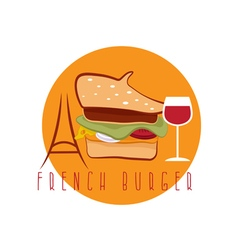 French burger concept with beret hat eiffel tower vector