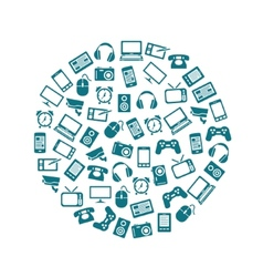Gadget icons in circle vector