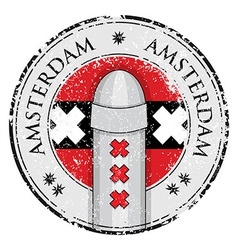 Grunge stamp with bollard symbol of Amsterdam vector image vector image