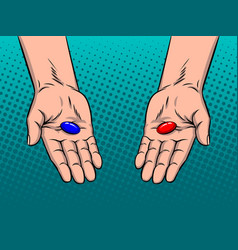Hands with red and blue pills pop art vector