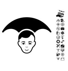 Head umbrella icon with flying drone tools bonus vector