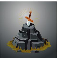 Legendary sword in stone excalibur vector