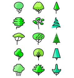 line art icons set with trees vector image vector image