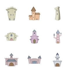 Medieval castle icons set cartoon style vector