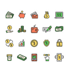 money finance symbols and signs color thin line vector image vector image