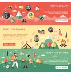 Mountaineering horizontal banners set vector