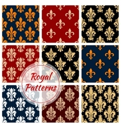 Royal flower patterns set floral ornament vector