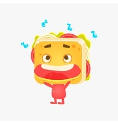 Sandwich character listening to music vector