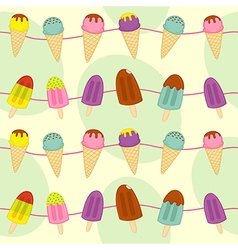 Seamless pattern with garland of ice cream vector