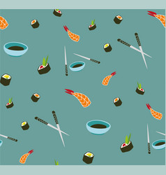 seamless sushi pattern asian food vector image