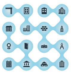 Set of 16 simple structure icons can be found vector