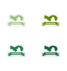 Set of paper stickers on white background Panama vector image