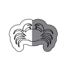 Sticker silhouette with line contour of crab vector