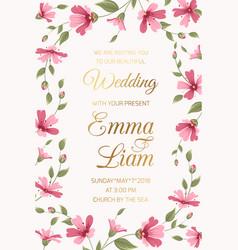 wedding invitation card template pink gypsophila vector image