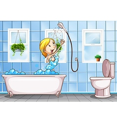 Woman taking shower in the bathroom vector image