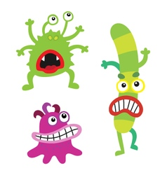 Cartoon cute monsters and bacterias microbes vector