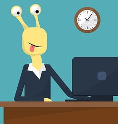 Flat design of office interior monster at work vector