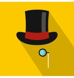 Hat with monocle icon flat style vector
