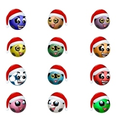 Football ball in the hat of Santa Claus vector image