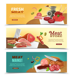 Meat market horizontal banners set vector