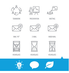 Teamwork presentation and meeting chat bubbles vector