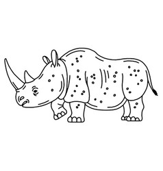 Cartoon mascot rhinoceros isolated vector