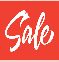 Sale hand inscription on a red background vector