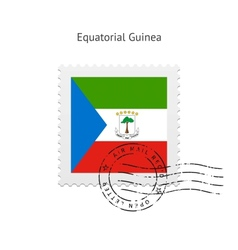 Equatorial guinea flag postage stamp vector