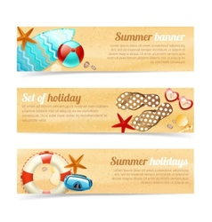Collection of banners with summer holiday vacation vector