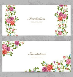 Invitation cards with a rose for your design vector