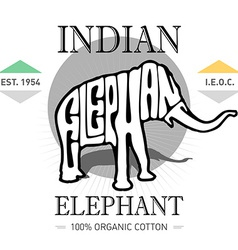 Vintage label with elephant for t-shirt print vector