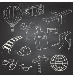 Icons travel on blackboard vector