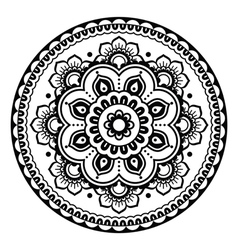 Indian mehndi henna floral tattoo round pattern vector