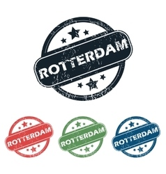 Round rotterdam city stamp set vector
