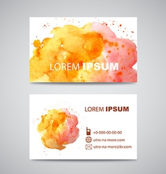 Set of banners with orange and pink watercolor vector