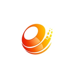 circle sphere technology data logo vector image