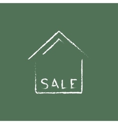House for sale icon drawn in chalk vector