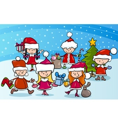 Cartoon kids on christmas vector