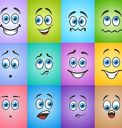 Smiles with emotions on colored background vector