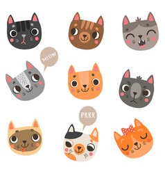 9 cute cats vector