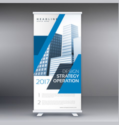 Blue business roll up standee banner template vector
