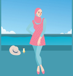 Burqini woman girl wearing swim suit with hijab vector